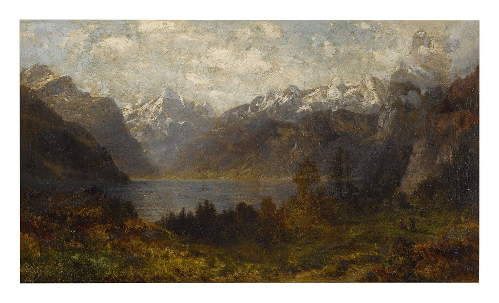 JOSEF SCHOYERER   A MOUNTAINOUS LANDSCAPE WITH A VIEW OF LAKE LUCERNE