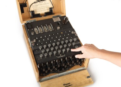 "View 2. Thumbnail of Lot 37. ENIGMA M4 | A FULLY OPERATIONAL FOUR-ROTOR (""M4"") KRIEGSMARINE ENIGMA CIPHER MACHINE. BERLIN-WILMERSDORF, GERMANY, HEIMSOETH UND RINKE, 1942, SEIZED FROM THE BAUAUFSICHT DER KRIEGSMARINE IN TRONDHEIM, NORWAY, AFTER THE CAPITULATION OF NAZI FORCES THERE IN 1945."