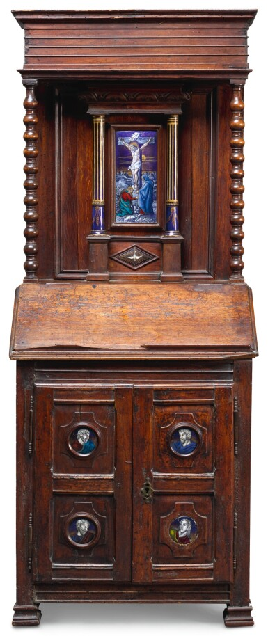 A WALNUT AND OAK PRIE DIEU MOUNTED WITH LIMOGE STYLE ENAMELS, THE ENAMEL PLAQUES POSSIBLY SAMSON, PARIS, LATE 19TH CENTURY