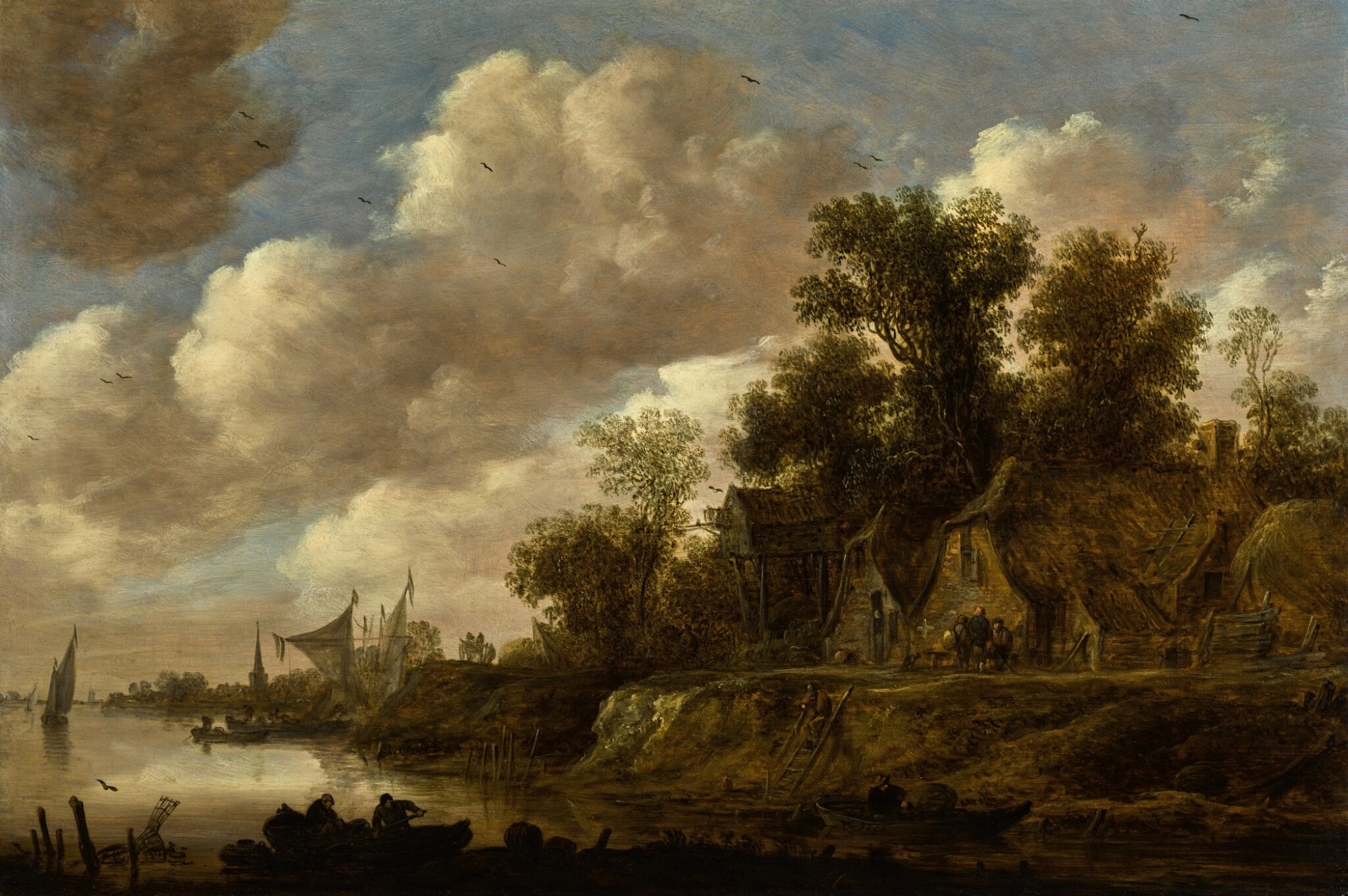 View full screen - View 1 of Lot 22. River landscape with farmhouses and a dovecote upon a high bank |《河上風景,河畔農舍與鴿房景觀》.