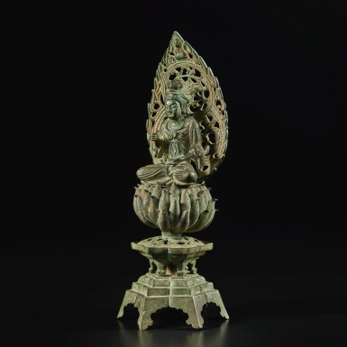 View 5. Thumbnail of Lot 584. A BRONZE FIGURE OF A SEATED BODHISATTVA,  FIVE DYNASTIES, WUYUE KINGDOM.