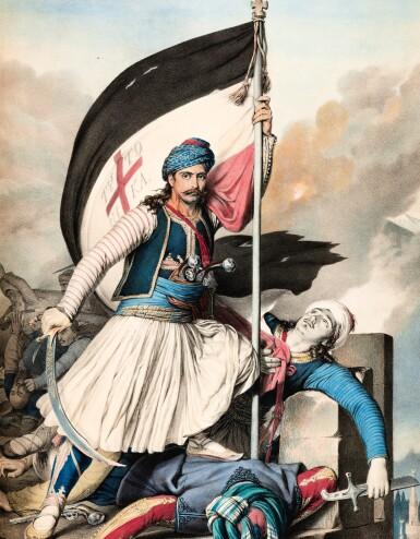 View 5. Thumbnail of Lot 47. Dupre. Voyage a Athenes et a Constantinople. Paris, 1825. folio, colour plates, twentieth-century blue half morocco gilt.