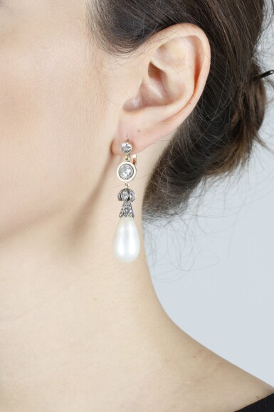 View 2. Thumbnail of Lot 339. PAIR OF NATURAL PEARL AND DIAMOND EARRINGS, LATE 19TH CENTURY AND LATER.