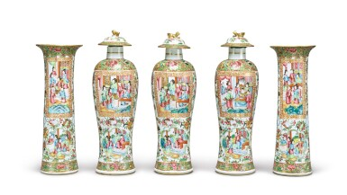A CANTON FAMILLE-ROSE FIVE-PIECE GARNITURE, QING DYNASTY, 19TH CENTURY