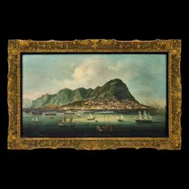 View 1. Thumbnail of Lot 196. Chinese School, prior to 1861 Hong Kong Harbour and Town of Victoria | 中國畫派 1861年前   香港維多利亞港圖 布本油畫 木框.