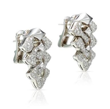View 2. Thumbnail of Lot 9113. PAIR OF DIAMOND PENDENT EARRINGS, BULGARI | 鑽石吊耳環一對, 寶格麗 ( Bulgari ).
