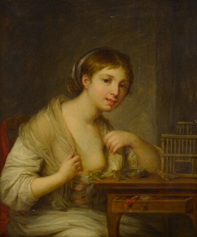 View 2. Thumbnail of Lot 79. Portrait of a young woman seated at a desk with three birds.