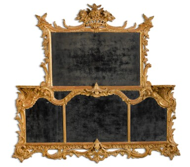View 1. Thumbnail of Lot 68. A George II carved giltwood overmantel mirror, circa 1755-60.
