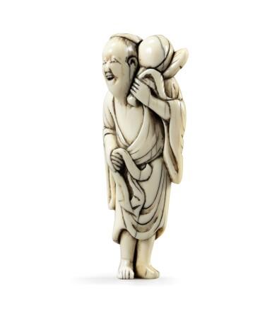 View 2. Thumbnail of Lot 80. An ivory netsuke study of Chokwaro Sennin, Japan, Edo period, 18th century.