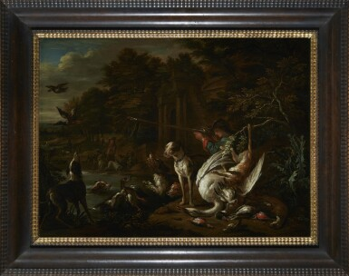 View 2. Thumbnail of Lot 230. ADRIAEN DE GRYEF | A HUNTSMAN WITH HIS DOG AT THE WATER'S EDGE, SURROUNDED BY THEIR SPOILS.