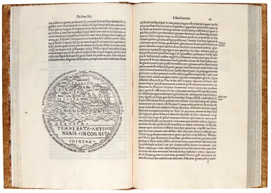View 1. Thumbnail of Lot 215. Macrobius, In somnium Scipionis, Venice, 1501, modern tooled calf in plateresque style.