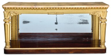 A GEORGE IV GILTWOOD AND ROSEWOOD CONSOLE TABLE, CIRCA 1820, ATTRIBUTED TO GILLOWS