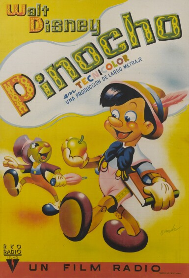 View 1. Thumbnail of Lot 6. PINOCCHIO (1940) POSTER, SPANISH.