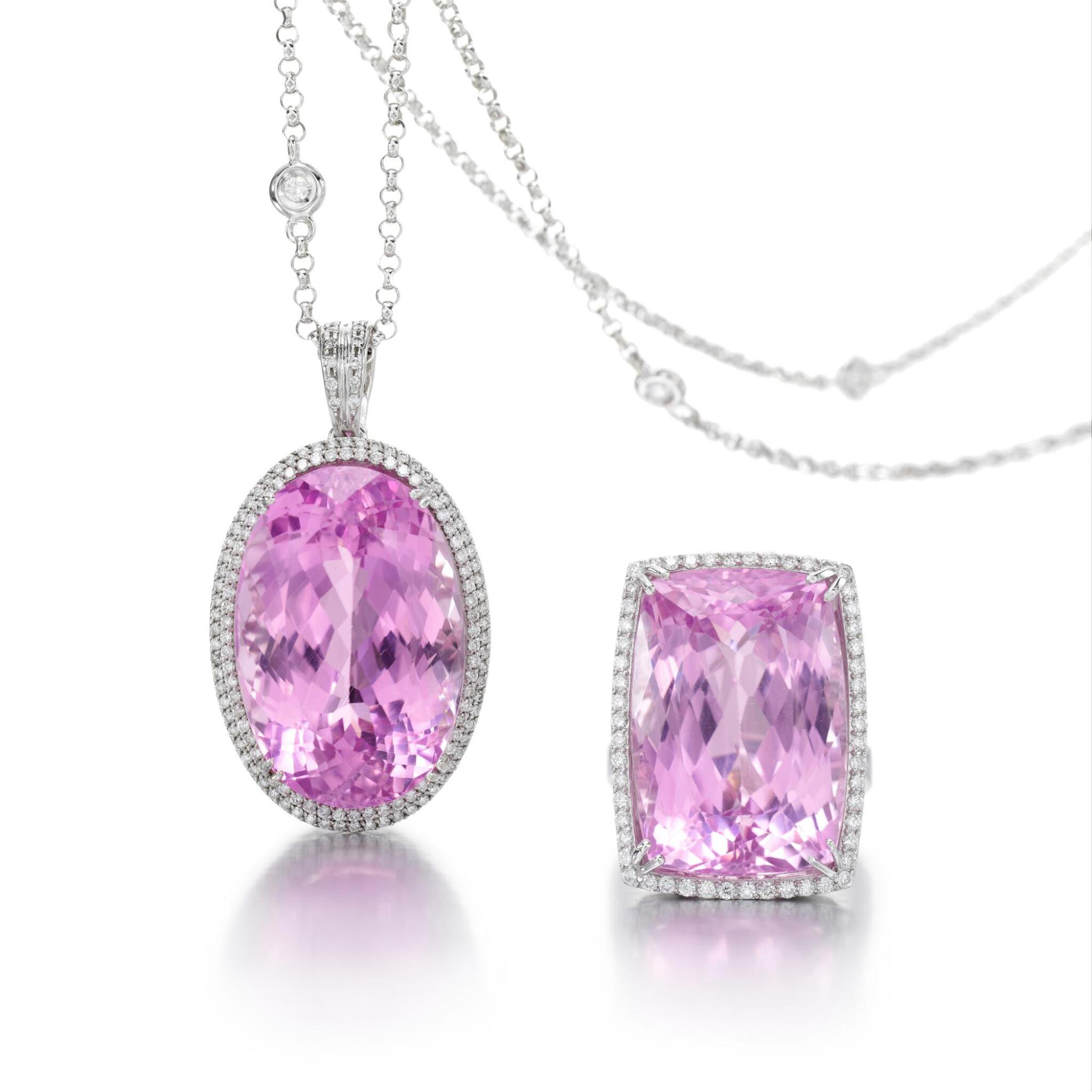 KUNZITE AND DIAMOND PENDANT AND A RING