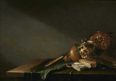 ATTRIBUTED TO D. WITTING | VANITAS STILL LIFE WITH A SKULL, BOOKS, STRING INSTRUMENT AND PEACOCK FEATHER ON A TABLE