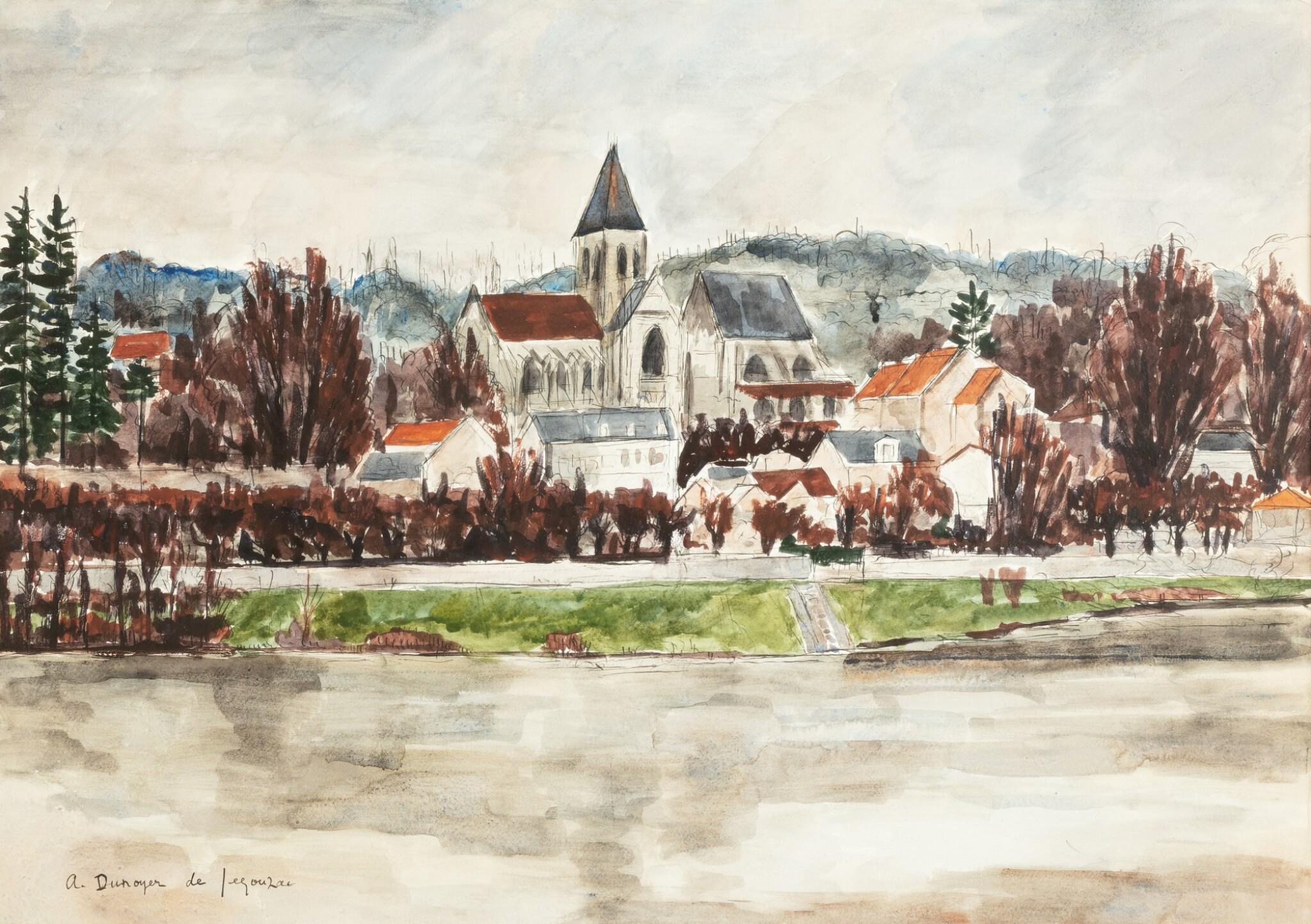 View full screen - View 1 of Lot 30. ANDRÉ DUNOYER DE SEGONZAC   L'EGLISE DE TRIEL VUE DE LA RIVE GAUCHE DE LA SEINE     .