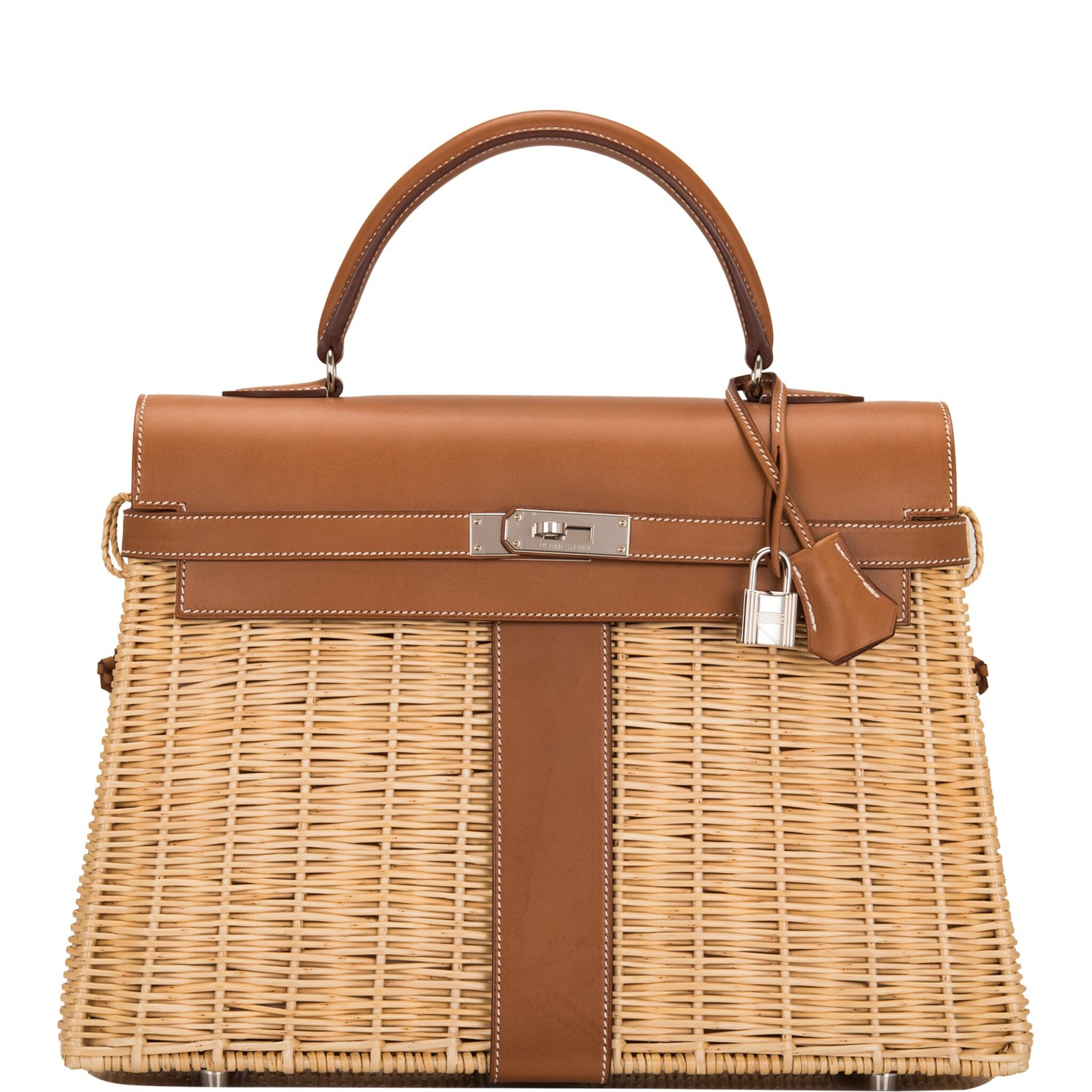 View full screen - View 1 of Lot 14. Hermès Wicker and Barenia Leather Picnic Bag Kelly 35cm Palladium Hardware.