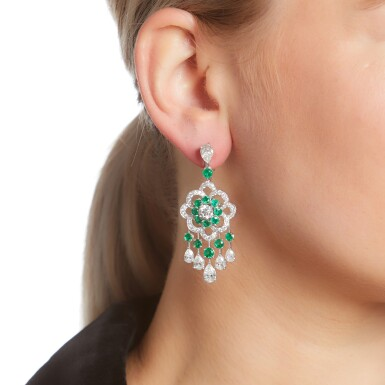 View 4. Thumbnail of Lot 32.  GRAFF | PAIR OF EMERALD AND DIAMOND EARRINGS.