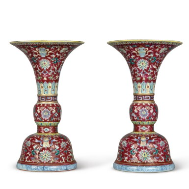View 4. Thumbnail of Lot 539.  A PAIR OF RUBY-GROUND FAMILLE-ROSE 'BAJIXIANG' ALTAR VASES (GU),  QIANLONG SEAL MARKS AND PERIOD .