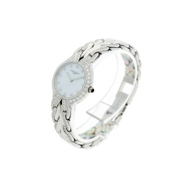 View 2. Thumbnail of Lot 37. REFERENCE 4816/3 LA FLAMME A LADY'S WHITE GOLD AND DIAMOND-SET BRACELET WATCH WITH MOTHER OF PEARL DIAL, MADE IN 1996.