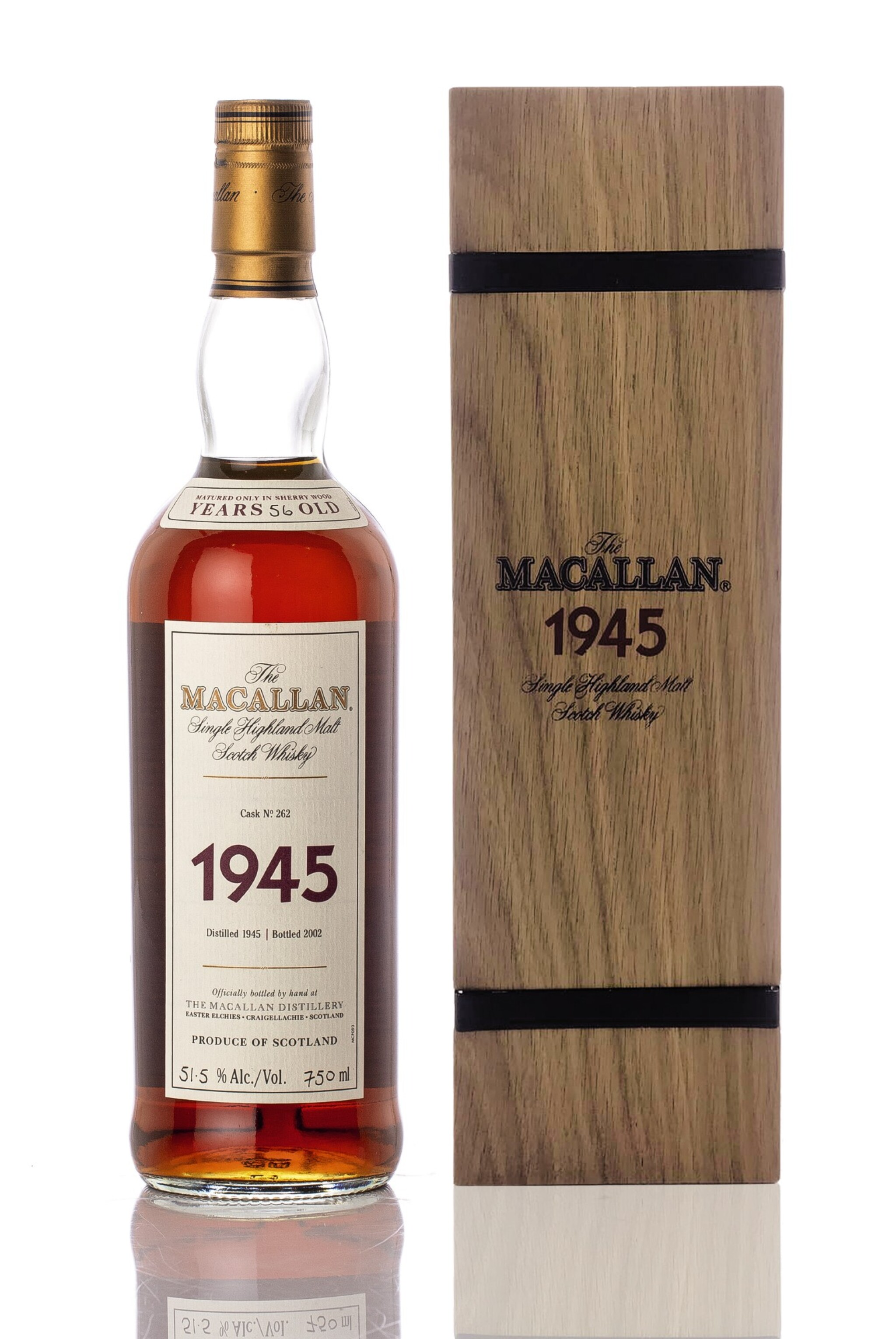 View full screen - View 1 of Lot 5523. The Macallan Fine & Rare 56 Year Old 51.5 abv 1945 (1 BT75).