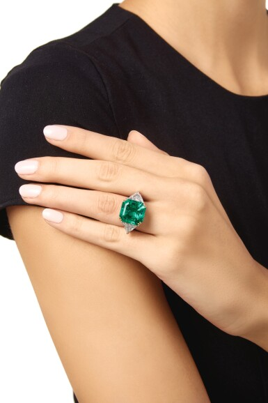 View 2. Thumbnail of Lot 205. EMERALD AND DIAMOND RING.