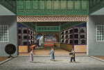 A RARE VIEW OF THE INTERIOR OF A LACQUERWARE SHOP QING DYNASTY, DAOGUANG PERIOD, 1820-40 | 清道光 1820-40年 廣東漆器店内貌 水彩紙本 鏡框