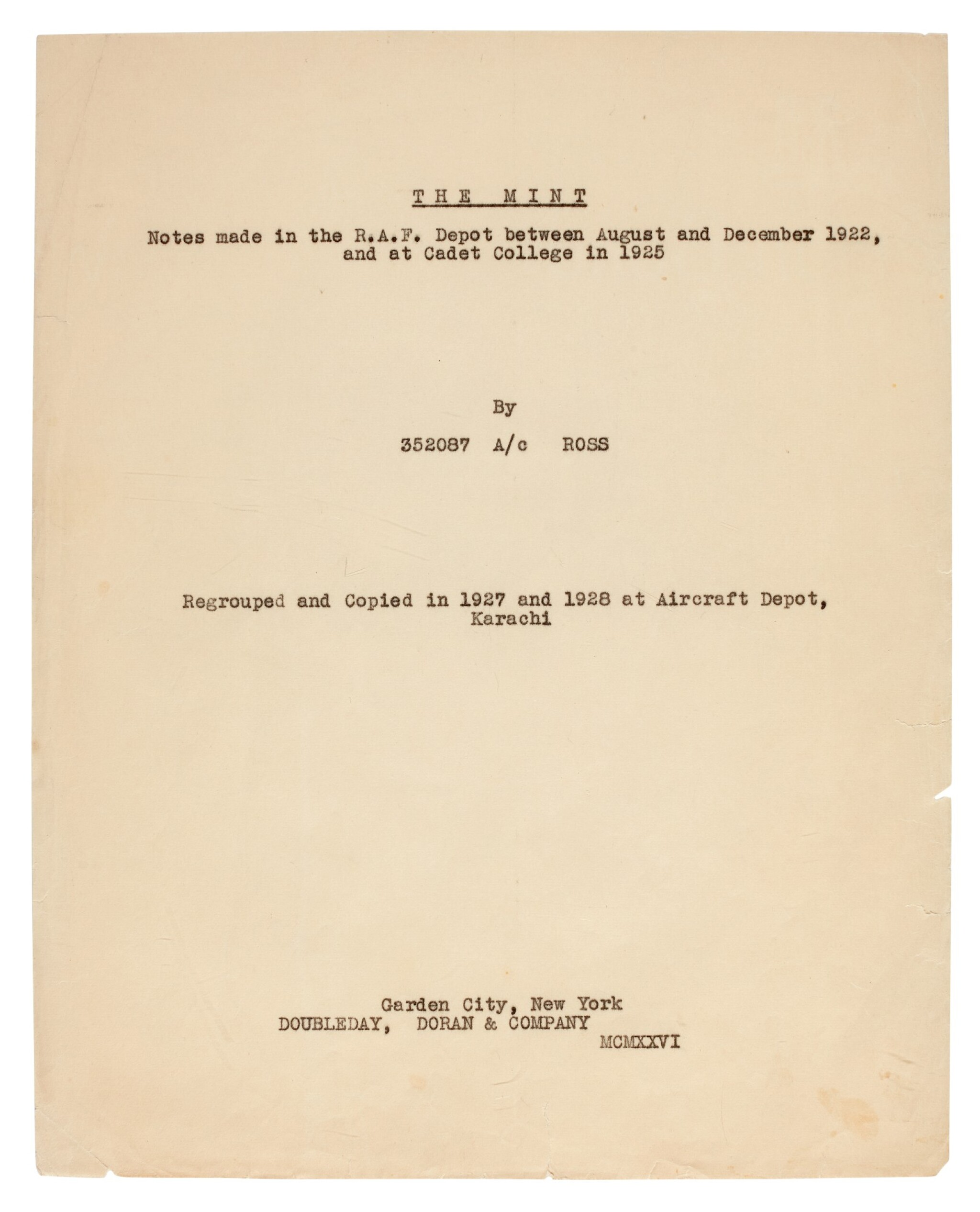 View full screen - View 1 of Lot 119. LAWRENCE, T.E. | The Mint, carbon typescript copy, c.1936.