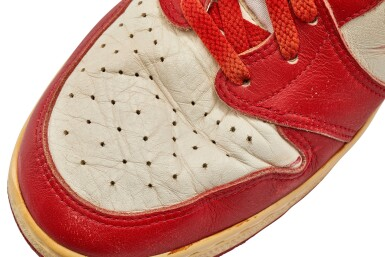 View 16. Thumbnail of Lot 1. Michael Jordan's Game Worn 1985 Player Sample Air Jordan 1s | Sizes 13, 13.5.