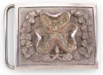 AN ELECTROPLATE BELT BUCKLE FROM A KNIGHT OF THE MOST ILLUSTRIOUS ORDER OF ST. PATRICK, EARLY 20TH CENTURY