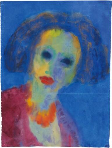 View 1. Thumbnail of Lot 212. EMIL NOLDE | FRAUENKOPF (BLAUER GRUND) (HEAD OF A WOMAN (BLUE GROUND)).