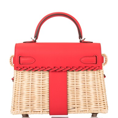 View 4. Thumbnail of Lot 184. Hermès Rare Rouge De Coeur Mini Kelly Picnic Bag of Osier Wicker and Swift Leather.