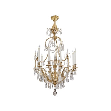 A LOUIS XV STYLE GILT BRONZE, GILT METAL AND ROCK CRYSTAL NINE-LIGHT CHANDELIER, LATE 19TH CENTURY