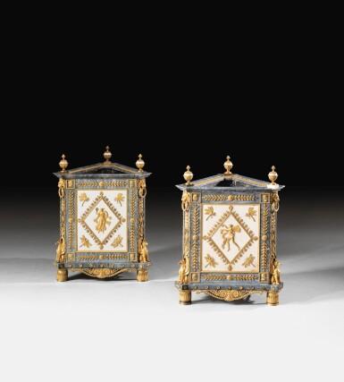 View 8. Thumbnail of Lot 20. A PAIR OF WHITE AND BLEU TURQUIN MARBLE JARDINIÈRES, WITH MERCURY GILT-BRONZE MOUNTS, LATE LOUIS XVI, CIRCA 1790-1800, THE MOUNTS BY FORESTIER PROBABLY AFTER A DESIGN BY JEAN-DÉMOSTHÈNE DUGOURC, PURCHASED IN PARIS AND DELIVERED TO THE KING OF SPAIN, CHARLES IV IN 1802   PAIRE DE CAISSES JARDINIÈRES EN MARBRES BLANC ET BLEU TURQUIN À MONTURE DE BRONZE DORÉ AU MERCURE DE LA FIN DE L'ÉPOQUE LOUIS XVI, VERS 1790-1800, LES BRONZES PAR FORESTIER PROBABLEMENT D'APRÈS UN DESSIN DE JEAN-DÉMOSTHÈNE DUGOURC, ACHETÉE À PARIS ET LIVRÉE POUR LE ROI D'ESPAGNE CHARLES IV EN 1802.