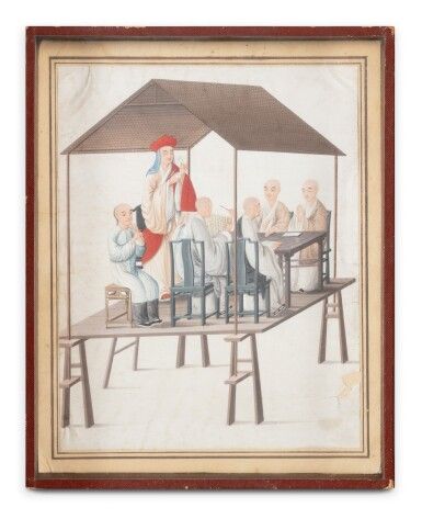 View 2. Thumbnail of Lot 289. A Canton school rice paper 'six figures' painting, China, Qing Dynasty, 19th century.