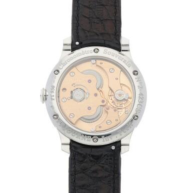 View 4. Thumbnail of Lot 43. Chronomètre Souverain Platinum wristwatch with power reserve indication Circa 2020   F.P. Journe「Chronomètre Souverain」鉑金腕錶備動力儲存顯示,年份約2020.
