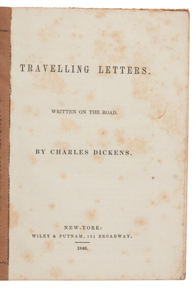 Dickens, Travelling Letters. Written on the Road, 1846, first American book edition
