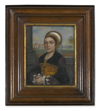 View 2. Thumbnail of Lot 60. Sold Without Reserve   MANNER OF HANS HOLBEIN, CIRCA 1900   PORTRAIT OF A LADY, HALF LENGTH, WITH AN ELABORATE FRENCH HOOD AND VEIL, FACING LEFT.