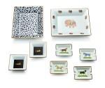 PORCELAIN PLATE, CHOPARD; THREE PORCELAIN PLATES, CARTIER; AND FOUR PORCELAIN CIGARETTE ASHTRAYS, HERMÈS   瓷碟, 蕭邦 (Chopard); 瓷碟三隻, 卡地亞(Cartier); 及 瓷煙灰缸四隻, 愛馬仕 ( Hermès )