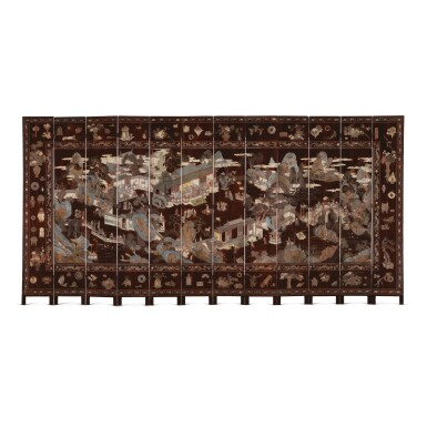 AN INSCRIBED TWELVE-PANEL COROMANDEL LACQUERED SCREEN, QING DYNASTY, KANGXI PERIOD