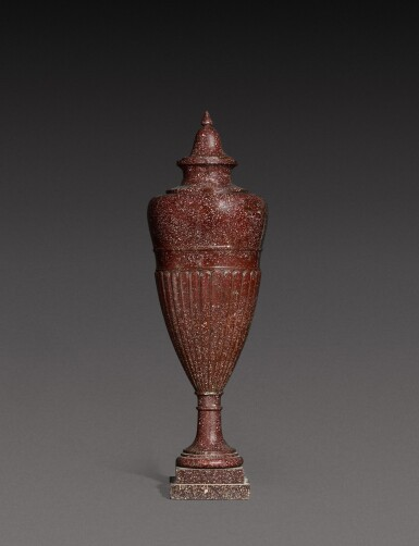 View 1. Thumbnail of Lot 137. An Italian carved porphyry urn, 19th century.