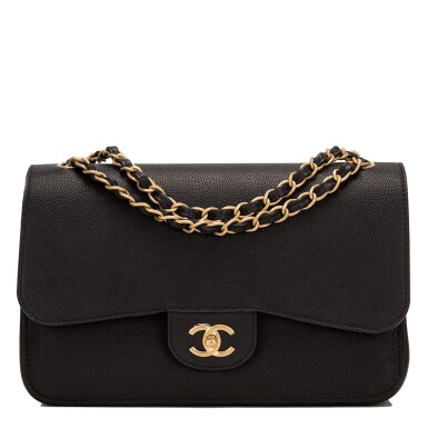 """View 1. Thumbnail of Lot 62.  Chanel """"Pure"""" Jumbo Double Flap Bag of Black Caviar Leather with Gold Tone Hardware."""