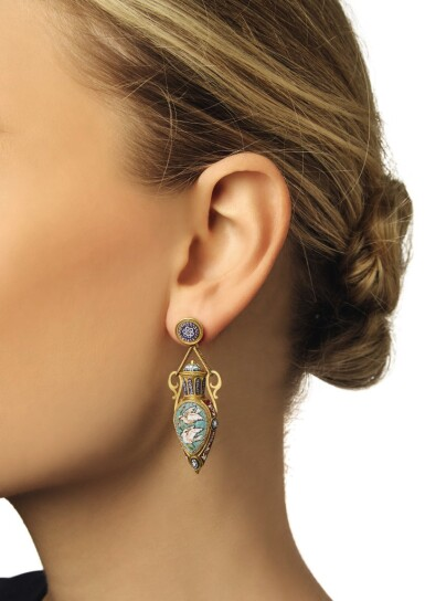 View 3. Thumbnail of Lot 50. HUNT & ROSKELL | GOLD AND MICROMOSAIC PENDANT AND PAIR OF PENDANT-EARRINGS.