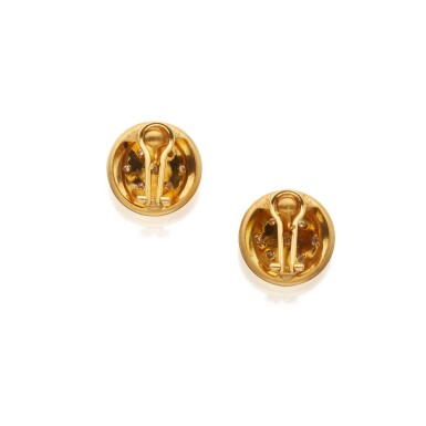 View 3. Thumbnail of Lot 335. Pair of Gold and Diamond Earclips.