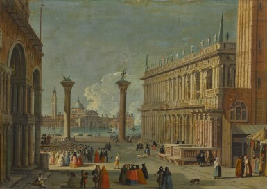 View 2. Thumbnail of Lot 15. FOLLOWER OF LUCA CARLEVARIJS | VENICE, A VIEW OF THE PIAZZETTA; AND VENICE, A VIEW OF THE MOLO .