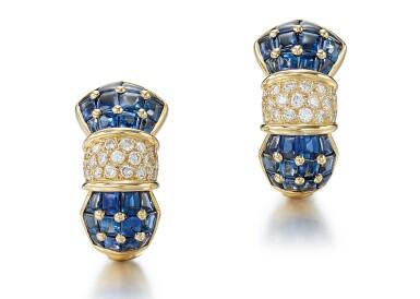 View 1. Thumbnail of Lot 9124. PAIR OF SAPPHIRE AND DIAMOND EAR CLIPS, TIFFANY & CO. | 藍寶石 配 鑽石 耳環一對, 蒂芙尼 ( Tiffany & Co. ).