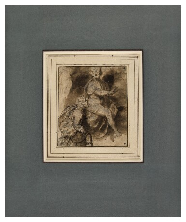 View 2. Thumbnail of Lot 219. A kneeling draped male figure before a seated figure.