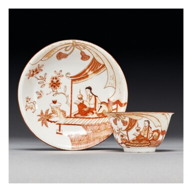 AN EARLY MEISSEN DUTCH-DECORATED TEABOWL AND SAUCER THE PORCELAIN CIRCA 1715-20, THE DECORATION CIRCA 1720-25