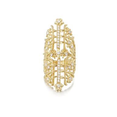 View 1. Thumbnail of Lot 112. Gold and diamond ring.