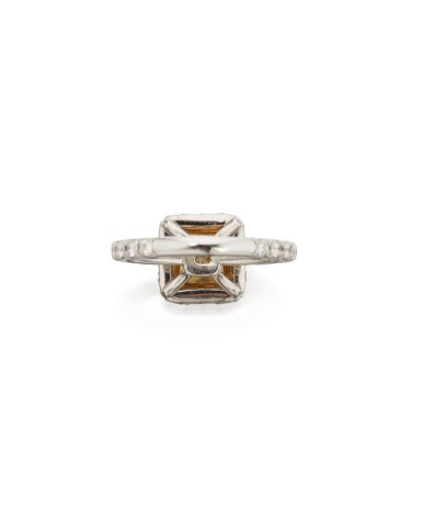 FANCY GRAYISH YELLOWISH GREEN DIAMOND AND DIAMOND RING